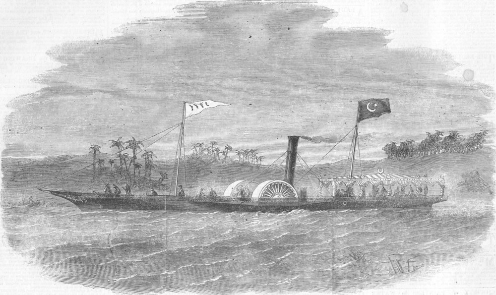 Associate Product SHIPS. Sporting steam yacht for Prince Halem Pacha, antique print, 1857