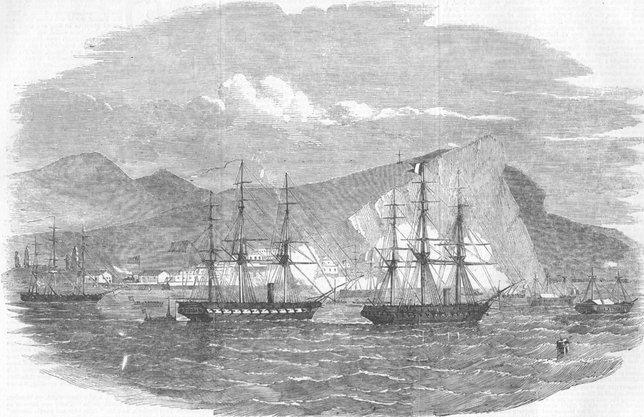 Associate Product PERU. Arica, attacked by fleet of General Viranco, antique print, 1857