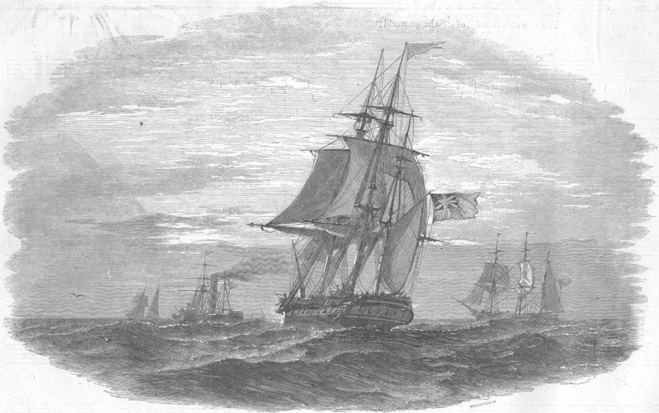 Associate Product SHIPS. [No caption], antique print, 1854