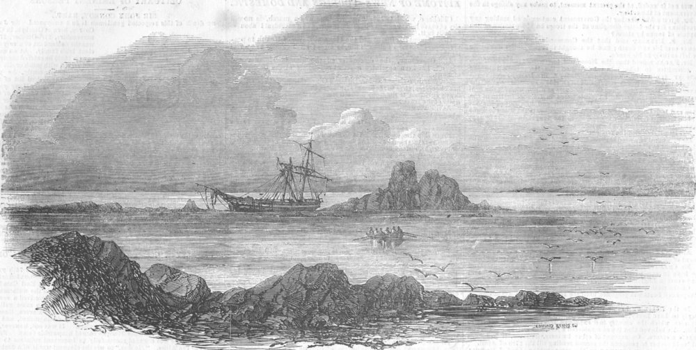 Associate Product FRANCE. Wreck, Correjou Bay, Brittany, antique print, 1854