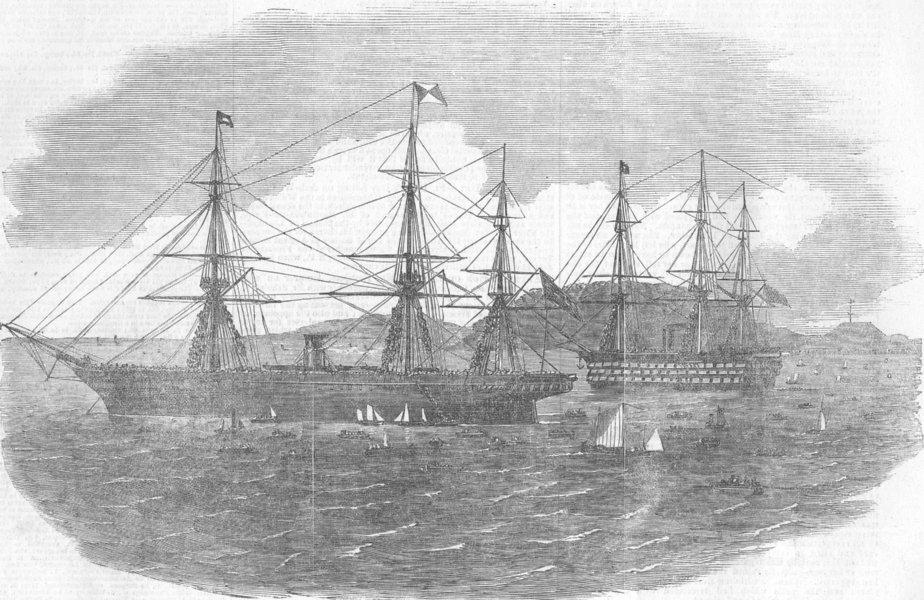 Associate Product DEVON. Himalaya Ship, Plymouth, antique print, 1854