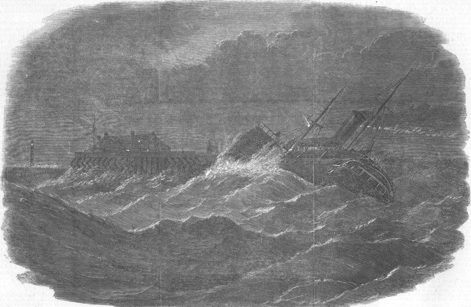 Associate Product FRANCE. Menai ship drifting ashore, Calais, antique print, 1854