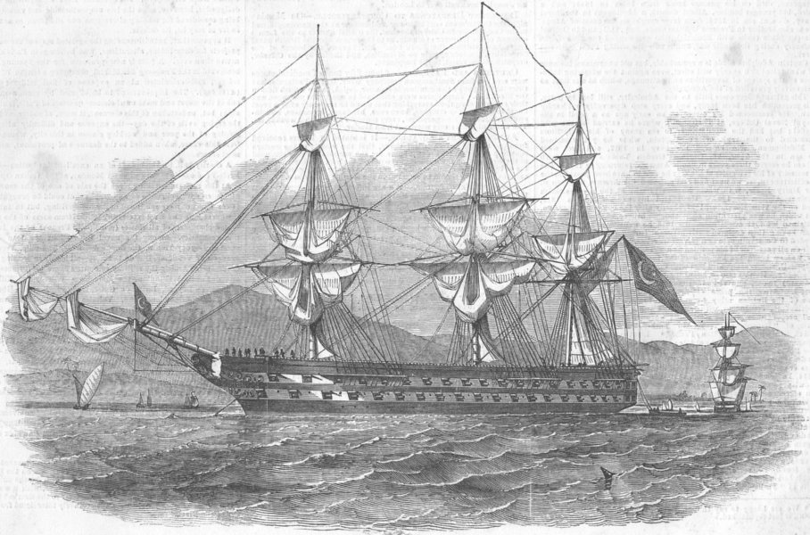 Associate Product SHIPS. Slade(Muchaver Pacha)Nuzetieh, Victorious, antique print, 1854