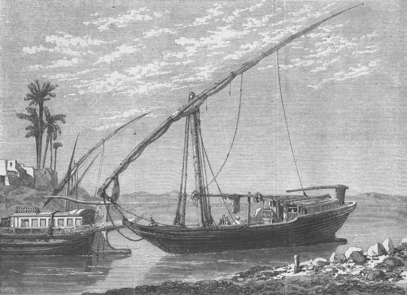 Associate Product EGYPT. The Nile boat, antique print, 1862