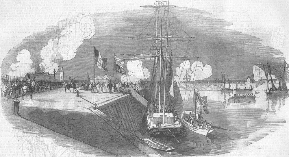 Associate Product FRANCE. Queen & Prince Albert landing, Treport; 1843, antique print, 1843