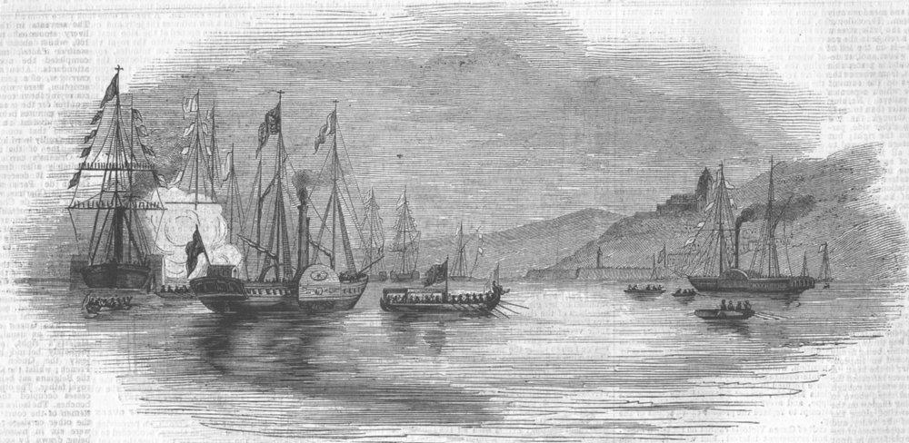 Associate Product FRANCE. Queen, Yacht, Treport, antique print, 1843