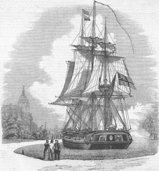 Associate Product LONDON. Model Frigate, Greenwich, antique print, 1843