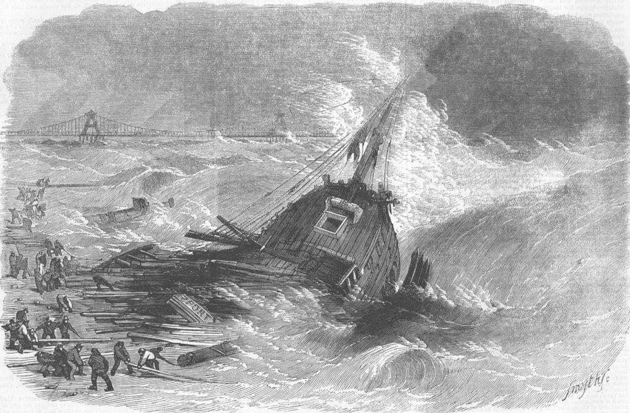 Associate Product SUSSEX. Wreck of Brig Pilgrim, Brighton, antique print, 1857