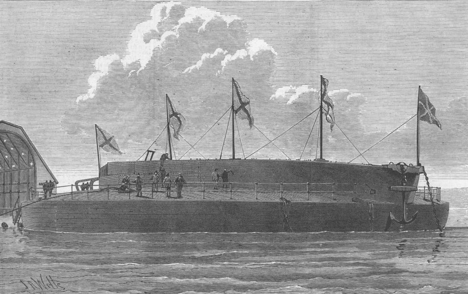 Associate Product RUSSIA. Launch. Ironclad Admiral Popoff, antique print, 1876