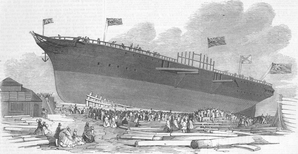 Associate Product LONDON. Launch. West Indian ship Amazon, Blackwall , antique print, 1851