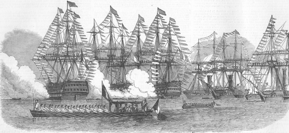 Associate Product FRANCE. French President quitting fleet, Cherbourg, antique print, 1850
