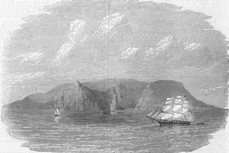 Associate Product INDIAN OCEAN. Island of St Paul, South. crater, antique print, 1858