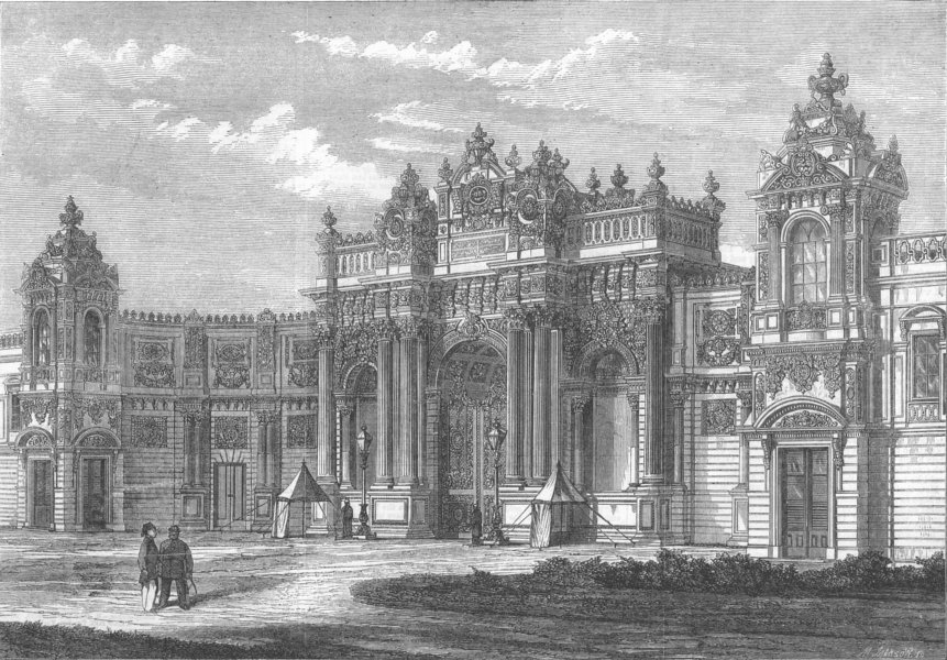 Associate Product TURKEY. Sultan's new Palace, Istanbul, entrance, antique print, 1862