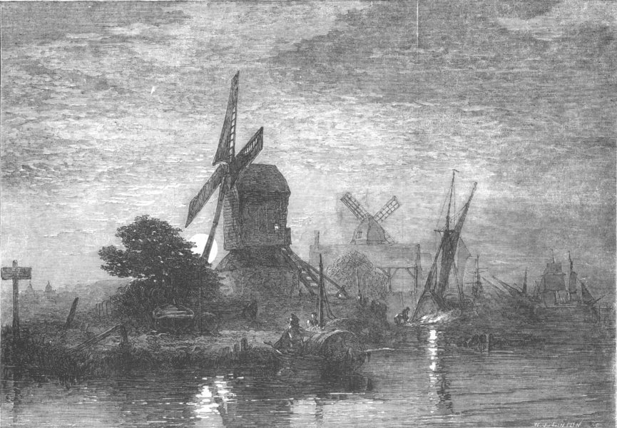 Associate Product WINDMILLS. Moonrise-painted by E Duncan, antique print, 1853