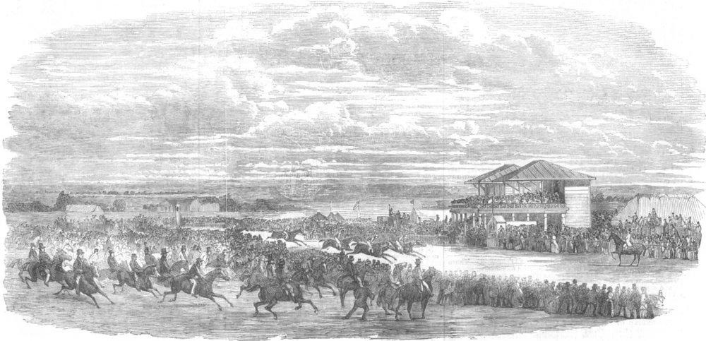 Associate Product LEICS. Croxton Park Races, antique print, 1853