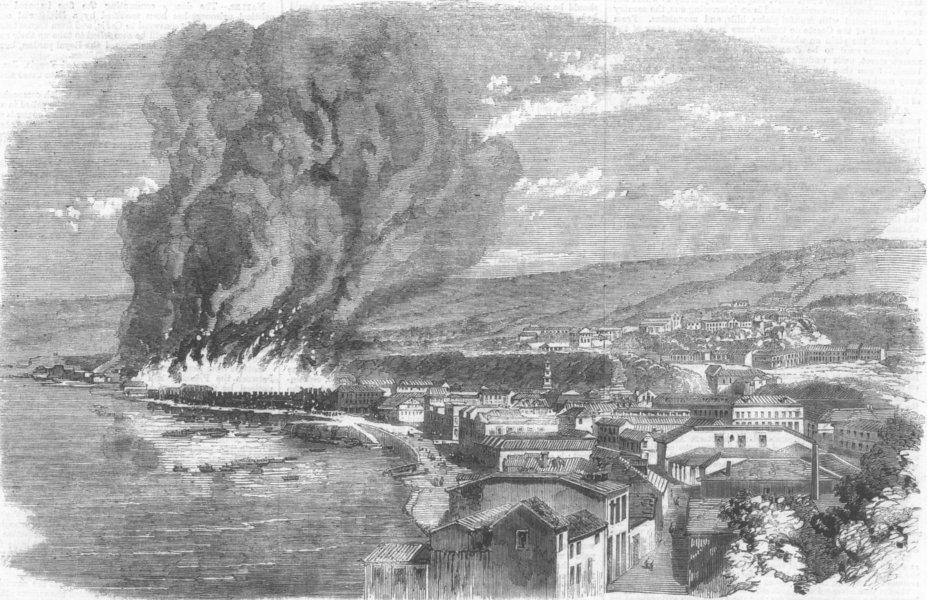 Associate Product CHILE. Valparaiso on Fire, antique print, 1859