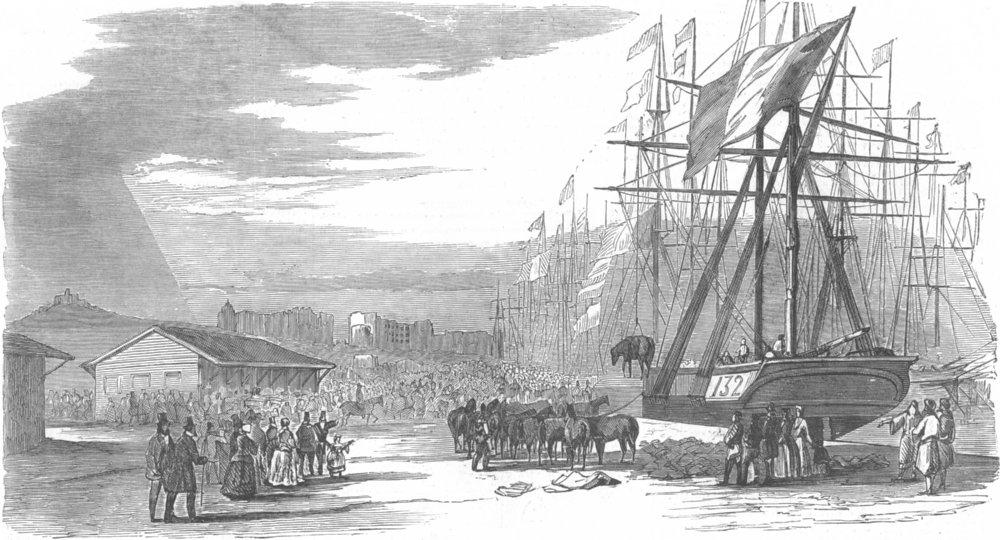 Associate Product FRANCE. Troops embarking, Marseilles, antique print, 1854