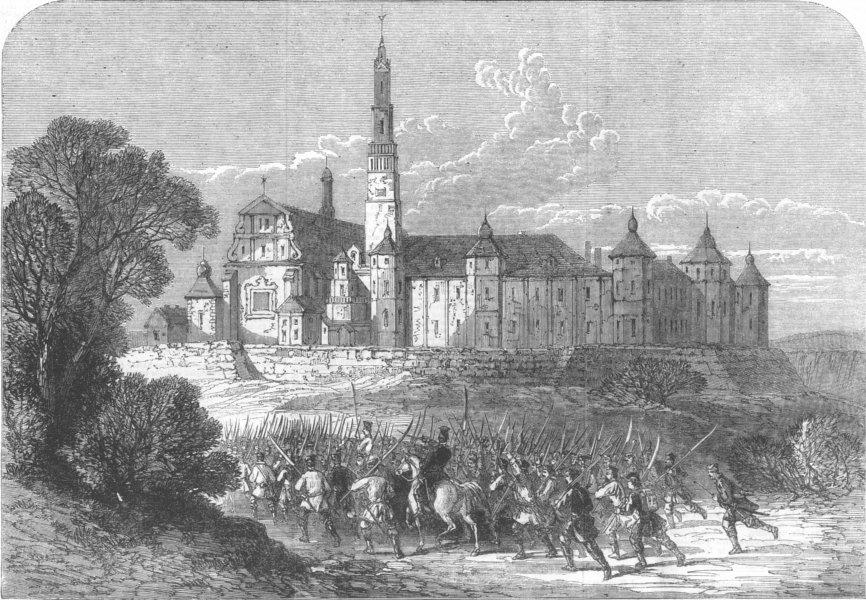 Associate Product POLAND. Church & Convent, Częstochowa, antique print, 1863