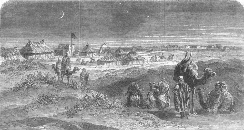 Associate Product EGYPT. Suez Canal Works. Toosoomville, Timsah, antique print, 1863