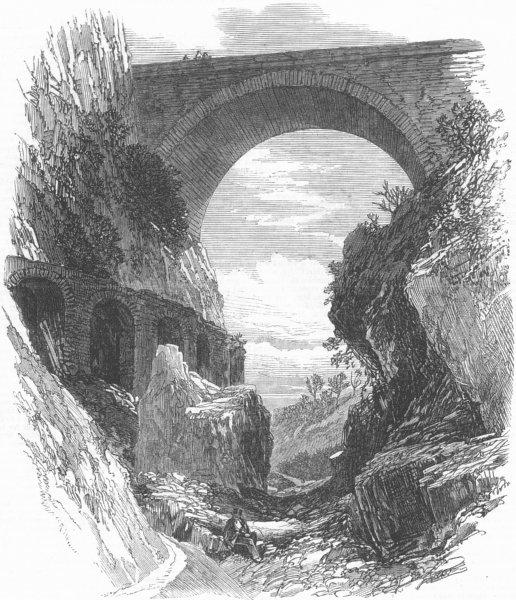 Associate Product FRANCE. Pont St Louis & Roman Aqueduct ruins, Menton, antique print, 1869