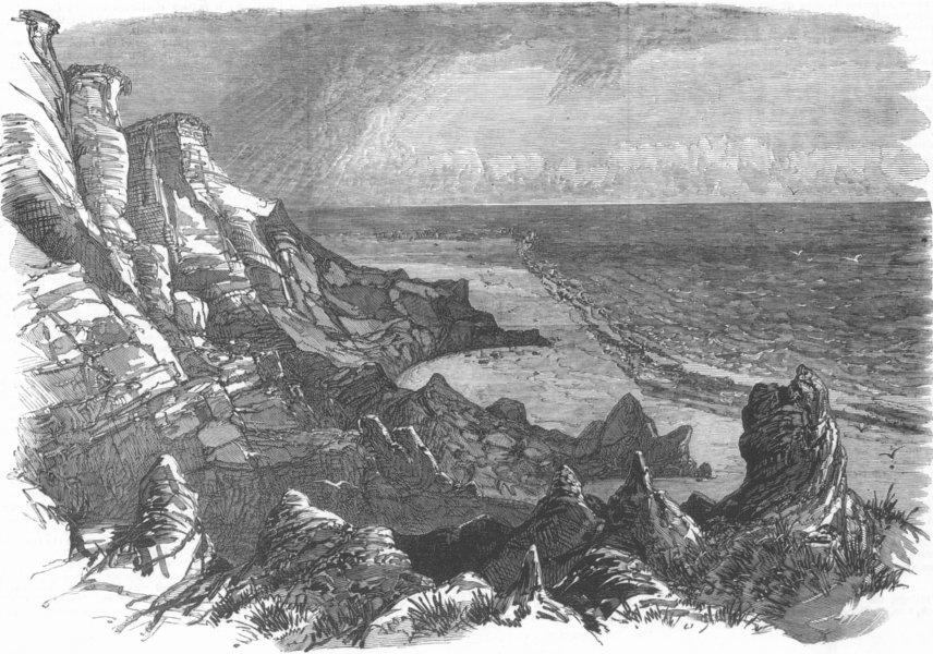 DENMARK. Ringkøbing Fjord. Boobjerg, Coast of Jutland, antique print, 1872