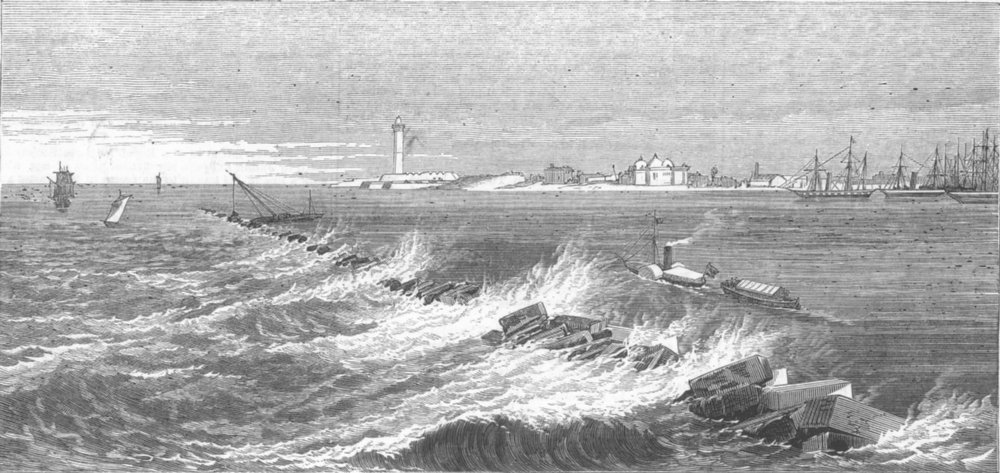 Associate Product EGYPT. New Breakwater, harbour of Alexandria, antique print, 1872