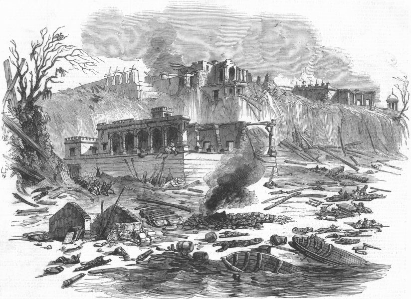 Associate Product INDIA. Explosion, Raj Ghat Ferry, Varanasi, antique print, 1850