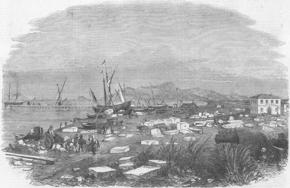 Associate Product ITALY. New Walton Pier, Carrara, for shipping marble, antique print, 1854