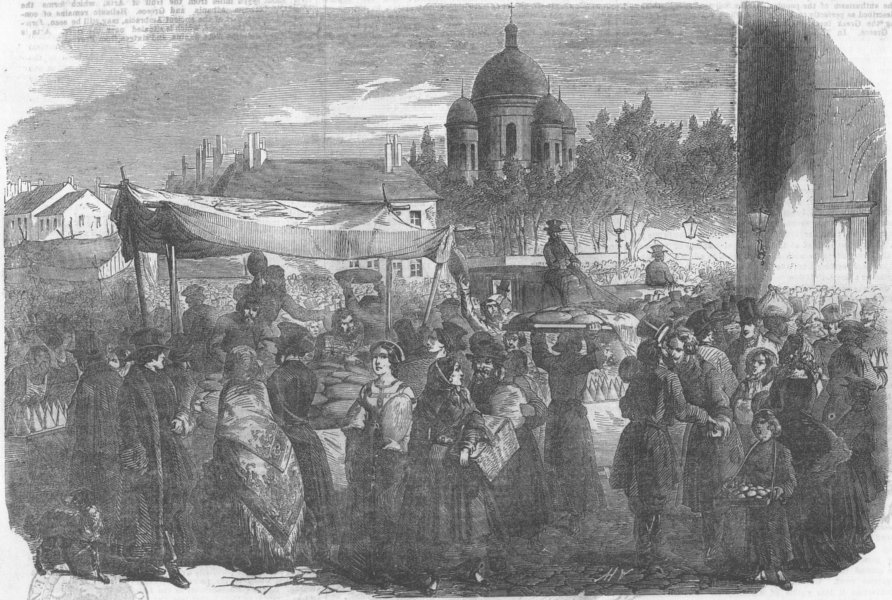 Associate Product RUSSIA. Easter festival, St Petersburg, antique print, 1854