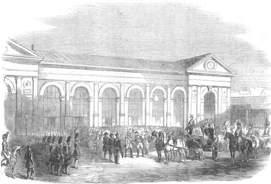 Associate Product Reception of Duke of Saxe-Coburg, at Paris, France, antique print, 1854