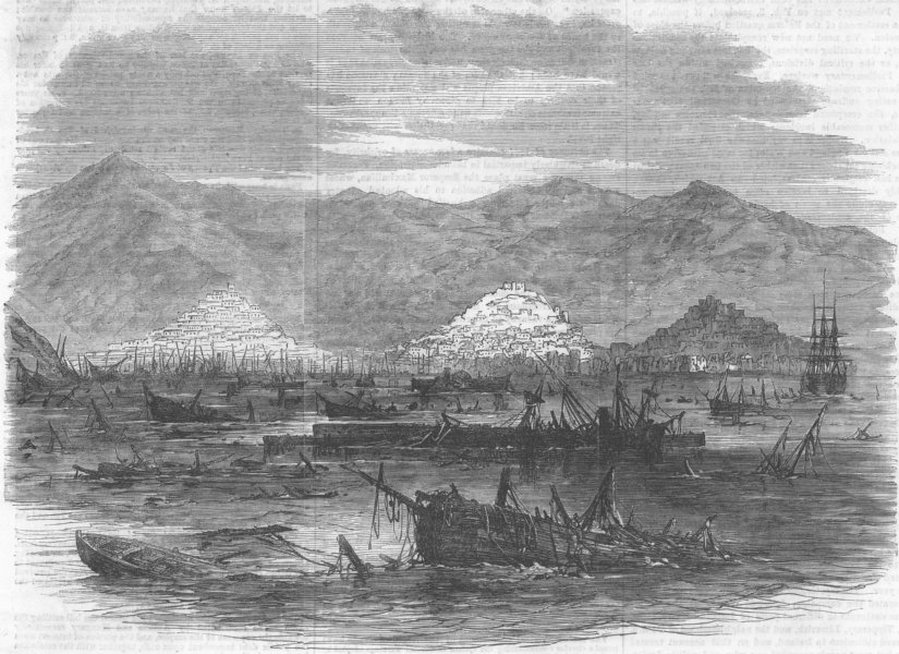 Associate Product WEST INDIES. Harbour of St Thomas after Earthquake, antique print, 1867