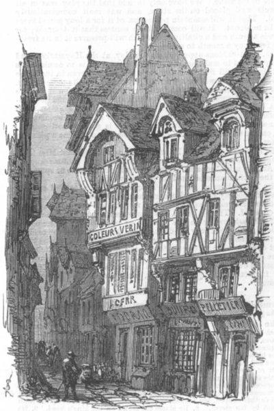 Associate Product FRANCE. Rouen. Rue De Bac, antique print, 1867