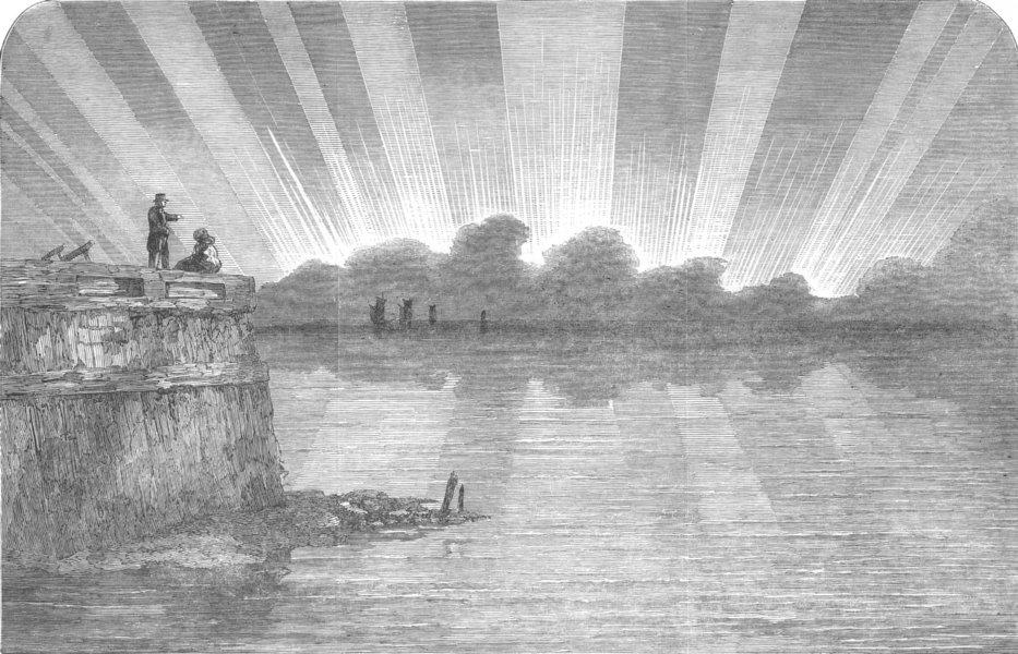 Associate Product FRANCE. Aurora Borealis, seen from Pier, Boulogne, antique print, 1853