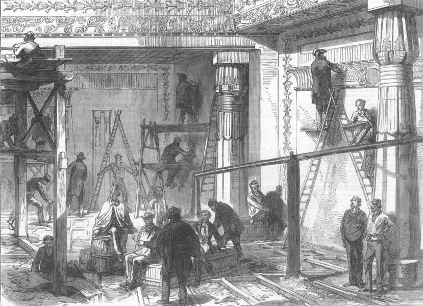 Associate Product EGYPT. Egyptian Temple, park, antique print, 1867