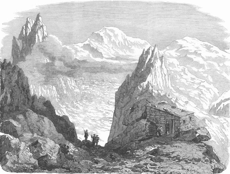 Associate Product FRANCE. Cabin of Grands Mulets, Mont Blanc, antique print, 1853