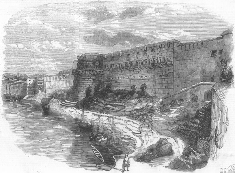 Associate Product INDIA. Fort of Allahabad, from river Yamuna, antique print, 1857
