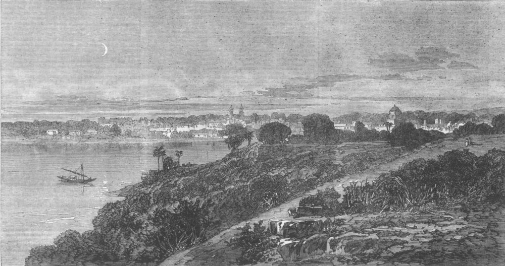 Associate Product INDIA. View of city of Bhopal, antique print, 1863