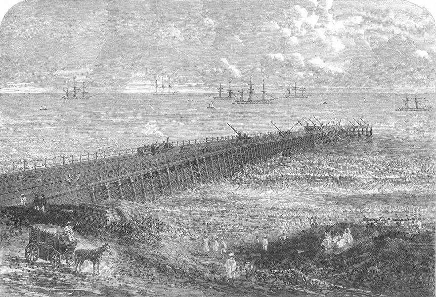 Associate Product INDIA. Chennai Pier, Screw-Piles, new invention, antique print, 1863