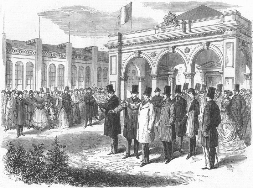Associate Product FRANCE. Emperor visiting Exhibition, Paris, antique print, 1867