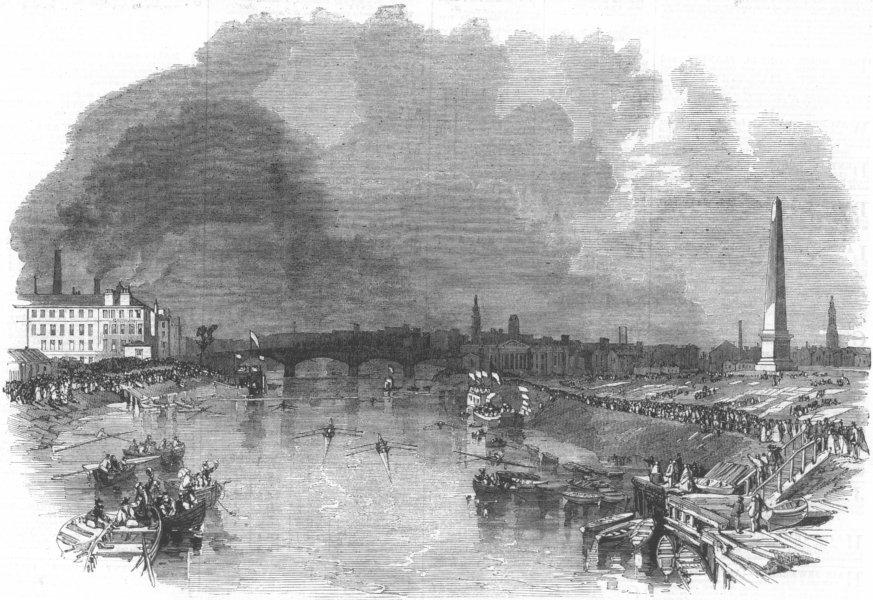 Associate Product SCOTLAND. Clydesdale Rowing Club Regatta, Glasgow, antique print, 1862