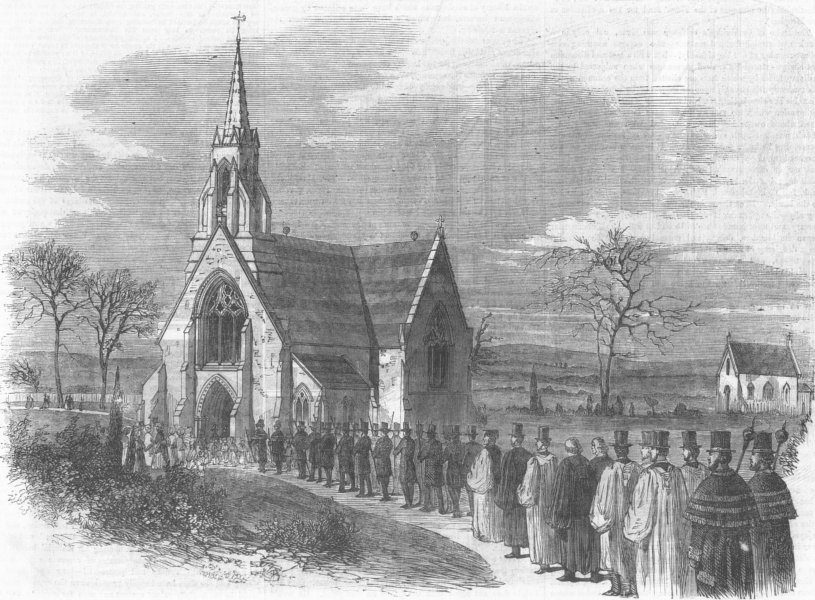Associate Product LONDON. Marylebone cemetary consecration, Finchley, antique print, 1855