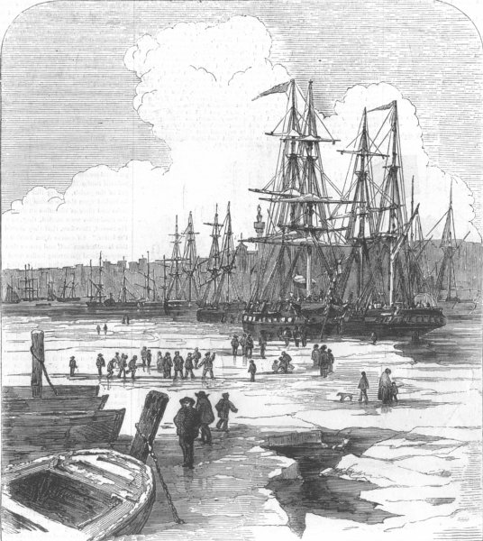 Associate Product LONDON. River Thames, Frozen, antique print, 1855