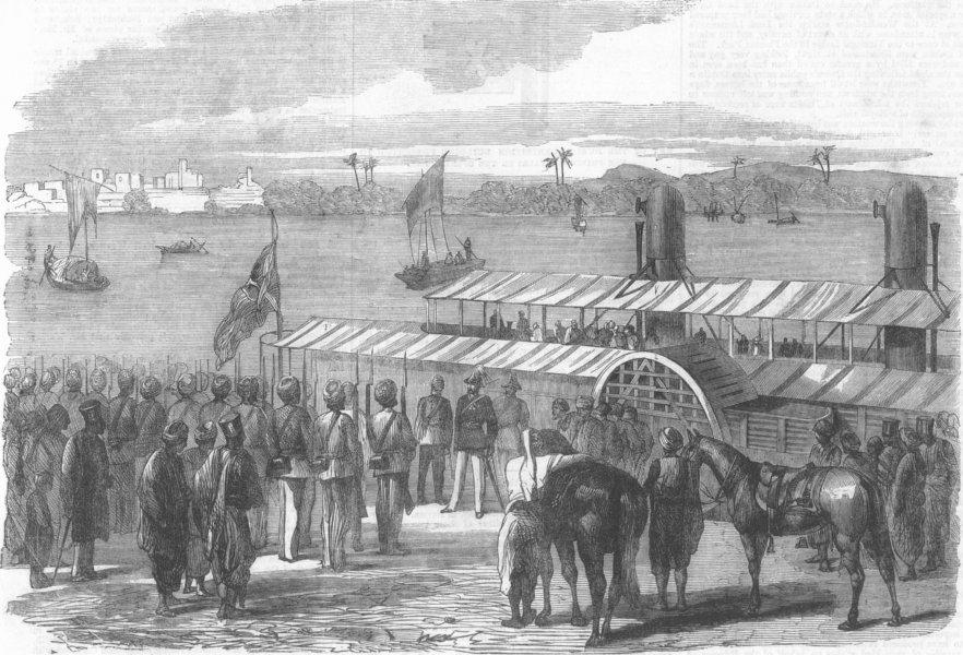 Associate Product NOTTS. Landing, Sir William Mansfield, Sukkur, Indus, antique print, 1865