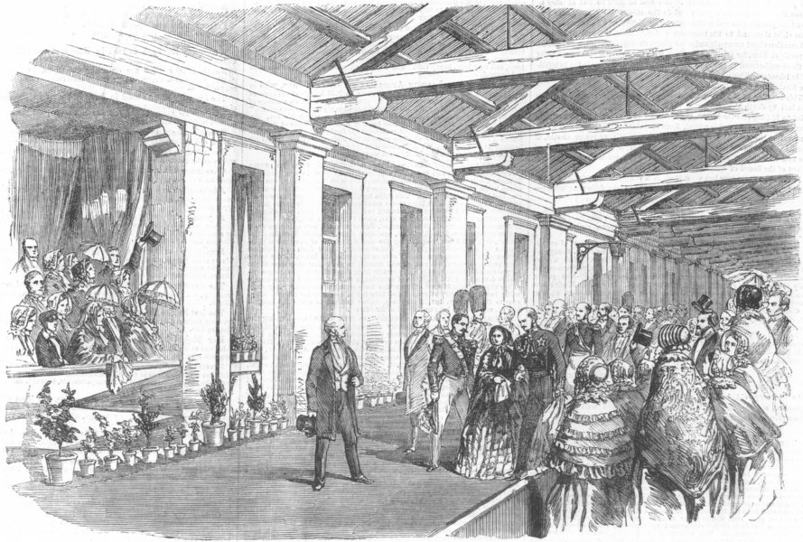 Associate Product LONDON. Emperor's arrival, Bricklayers Arms Station, antique print, 1855