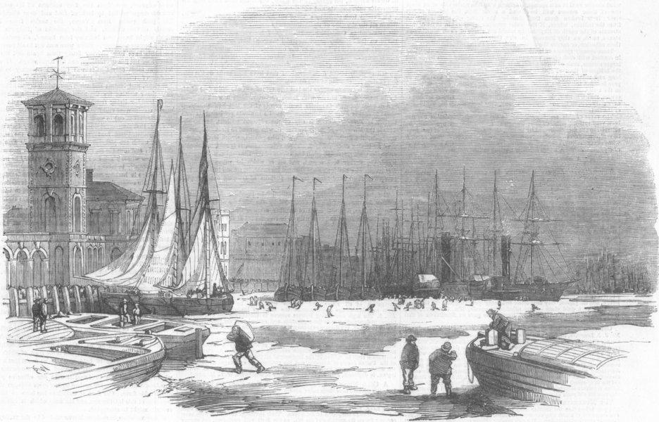 Associate Product LONDON. Frost-Thames, Billingsgate, antique print, 1855