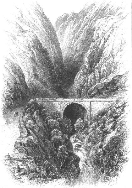 Associate Product SWITZERLAND. Pont D'Arouet. Les Ormonds, antique print, c1880