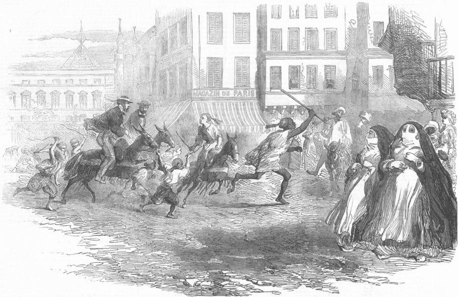 Associate Product EGYPT. Donkey Races, Alexandria, antique print, 1855