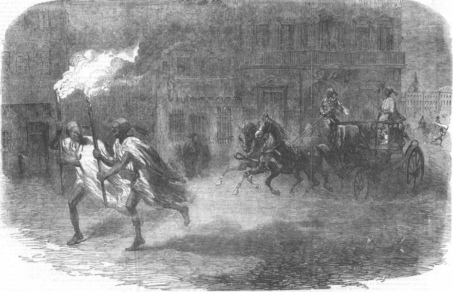 Associate Product EGYPT. Street, Alexandria, by night, antique print, 1855
