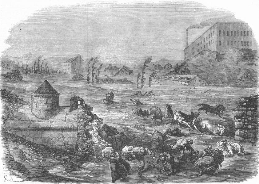 Associate Product FRANCE. Breaking Boulevard, Course Lafayette, Lyons, antique print, 1856