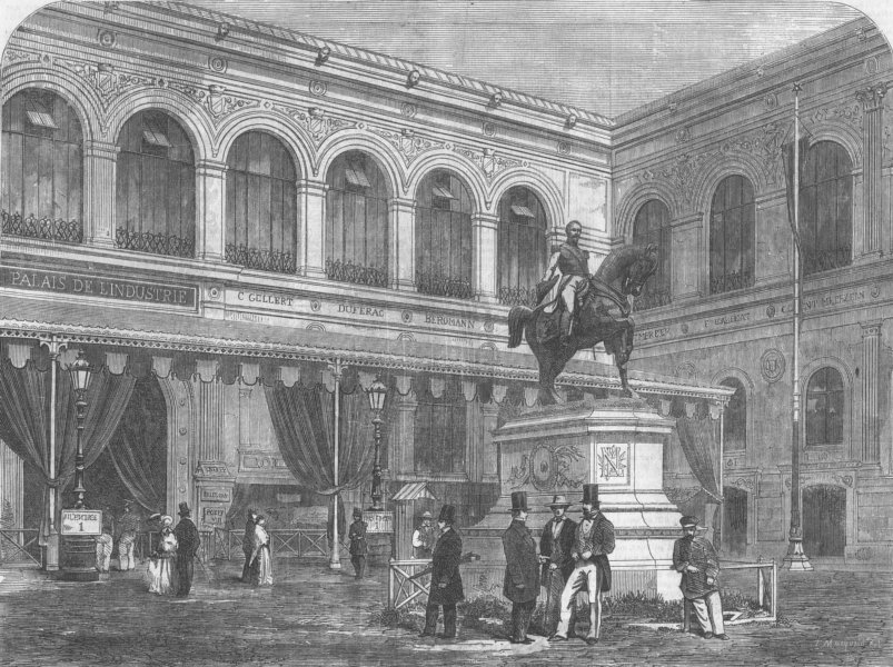 Associate Product FRANCE. Palace of Industry, Paris, antique print, 1855